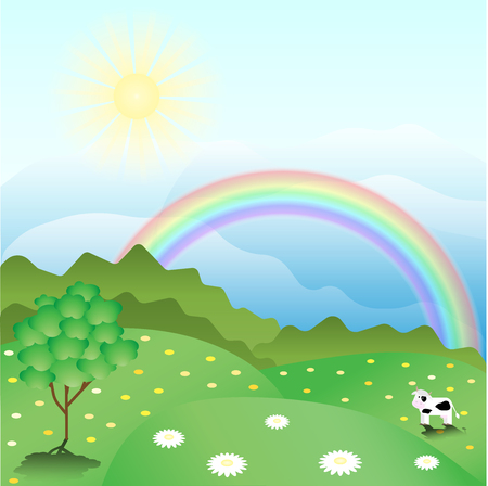 A peaceful summer landscape with a rainbow and cow and green flowering meadows.