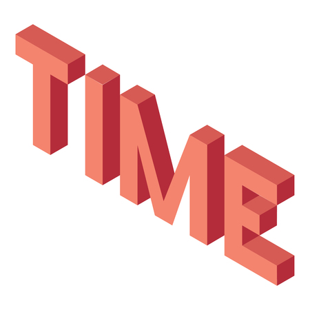 Creative abstract illustration with red word time on white background. Isometric design. 3D concept.