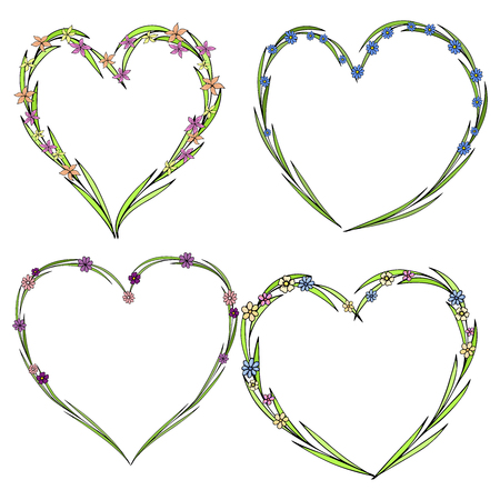 Set of four beautiful flower wreaths in the shape of a heart. Elegant flower collection with leaves and flowers.