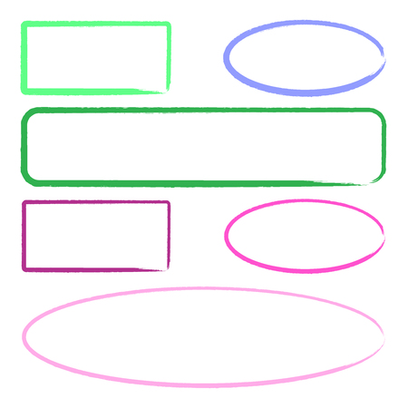 Set of colorful marker frames for text and presentations Illustration