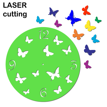 Laser cut clock with butterflies for interior. Template laser cutting machine for wood and metal.
