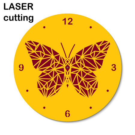 Laser cut clock with low-poly butterfly for interior. Template laser cutting machine for wood and metal.
