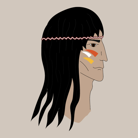 Native american profile silhouette portrait. Red Indian chief. Çizim