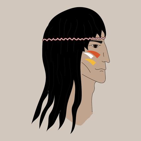 Native american profile silhouette portrait. Red Indian chief. Illustration