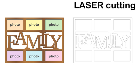 Frame for photos with inscription 'Family' for laser cutting. Collage of photo frames. Template laser cutting machine for wood and metal