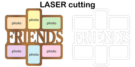 Frame for photos with inscription 'Friends' for laser cutting. Collage of photo frames. Template laser cutting machine for wood and metal