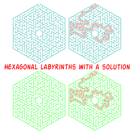 Set of hexagonal labyrinths with a solution. Color hexagonal mazes. A useful puzzle game for children and adults