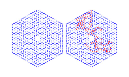 Hexagonal labyrinth with a solution. Color hexagonal maze. A useful puzzle game for children and adults