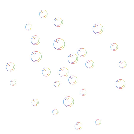 Set of realistic transparent colorful soap bubblesisolated on white background. Bubble blower.