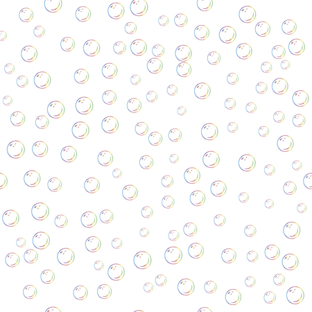 Seamless pattern with realistic transparent colorful soap bubbles with rainbow reflection isolated on white background. Pattern with bubble blower.