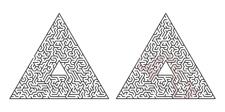 Triangular labyrinth. Maze isolated on a white background. Solution is made in red dotted line Vettoriali