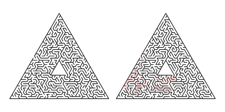 Triangular labyrinth. Maze isolated on a white background. Solution is made in red dotted line