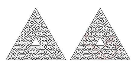 Labirinto triangolare. Labirinto isolato su uno sfondo bianco. La soluzione è composta da una linea tratteggiata rossa