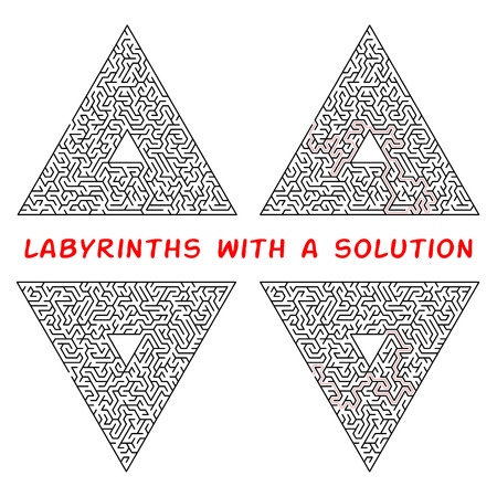 Set of triangular labyrinths. Maze isolated on a white background. Solution is made in red dotted line Vettoriali