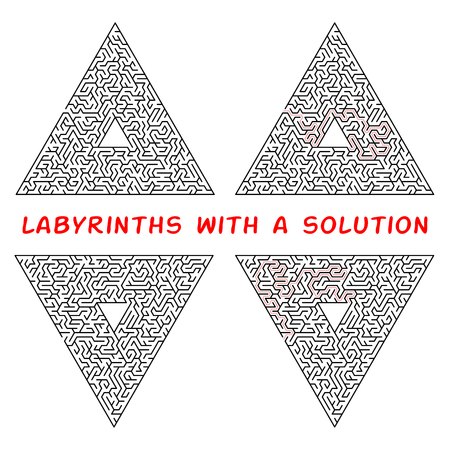 Set of triangular labyrinths. Maze isolated on a white background. Solution is made in red dotted line