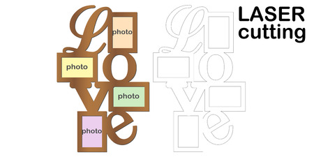 Frame for photos with inscription 'Love' for laser cutting. Collage of photo frames. Template laser cutting machine for wood and metal. The perfect gift for St. Valentine's Day.