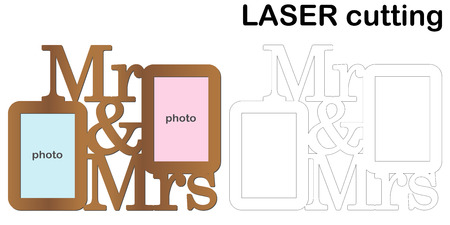 Frame for photos with inscription 'Mr and Mrs' for laser cutting. Collage of photo frames. Template laser cutting machine for wood and metal. The perfect gift for St. Valentine's Day or wedding day. Imagens - 114773417
