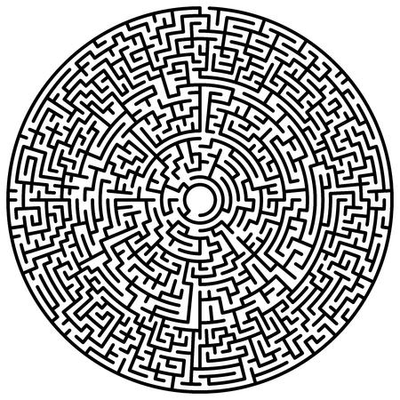 Círculo de laberinto. Laberinto. Símbolo de laberinto. Aislado sobre fondo blanco. Laberinto negro