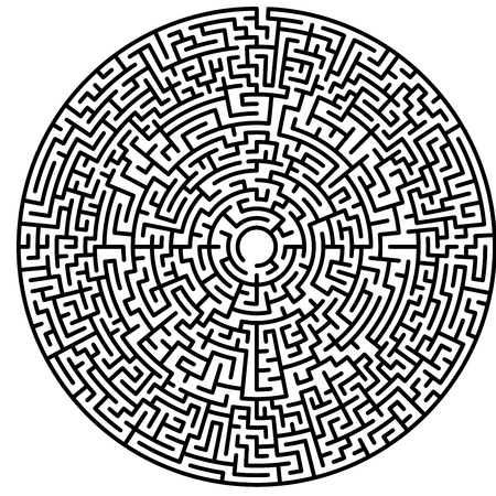 Maze circle. Labyrinth. Maze symbol. Isolated on white background. Black labyrinth