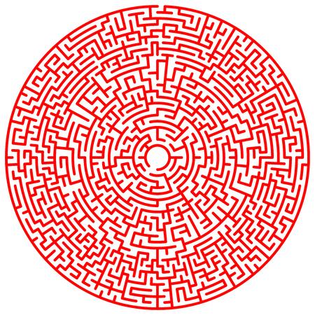 Círculo de laberinto. Laberinto. Símbolo de laberinto. Aislado sobre fondo blanco. Laberinto rojo