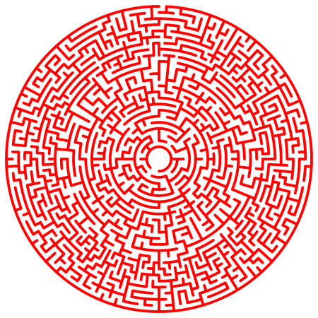 Maze circle. Labyrinth. Maze symbol. Isolated on white background. Red labyrinth