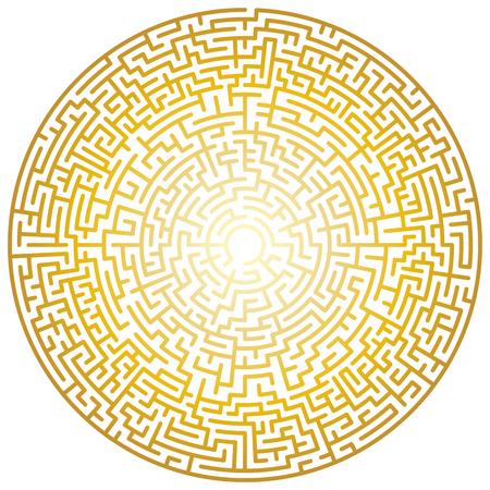 Maze circle. Labyrinth. Maze symbol. Isolated on white background. Gold labyrinth Ilustração