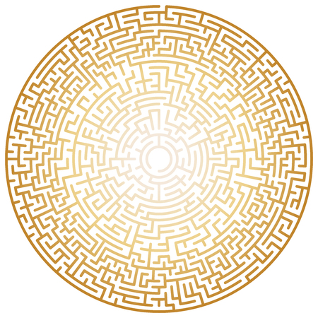 Maze circle. Labyrinth. Maze symbol. Isolated on white background. Gold labyrinth