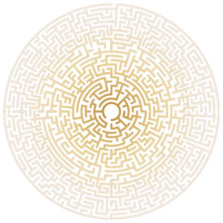 Círculo de laberinto. Laberinto. Símbolo de laberinto. Aislado sobre fondo blanco. Laberinto de oro