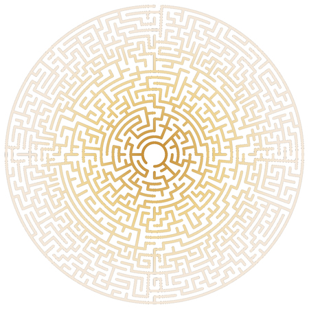 Maze circle. Labyrinth. Maze symbol. Isolated on white background. Gold labyrinth Ilustrace
