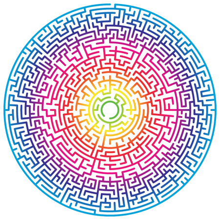 Maze circle. Labyrinth. Maze symbol. Isolated on white background. Rainbow labyrinth Ilustração
