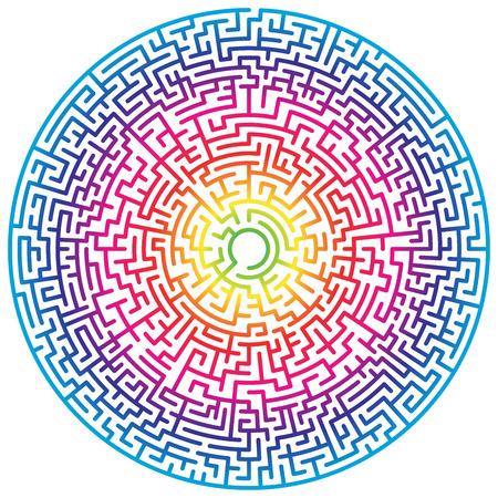 Círculo de laberinto. Laberinto. Símbolo de laberinto. Aislado sobre fondo blanco. Laberinto arcoiris Ilustración de vector