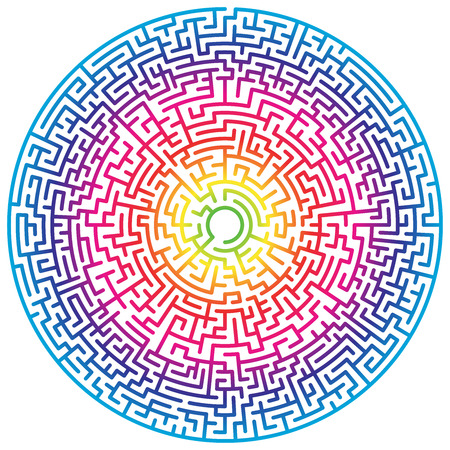 Maze circle. Labyrinth. Maze symbol. Isolated on white background. Rainbow labyrinth Vectores