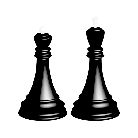 A realistic black chess king and a black chess queen. Isolated on white background.