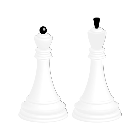 A realistic white chess king and a white chess queen. Isolated on white background. Illustration