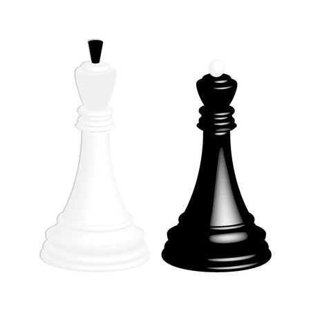 A realistic white chess king and a black chess queen. Isolated on white background.