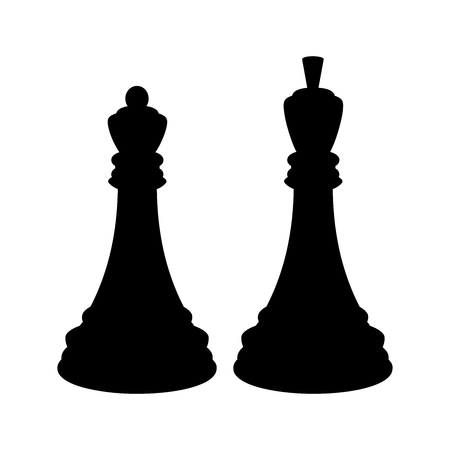 Silhouette of black chess king and a black chess queen. Isolated on white background. Illustration