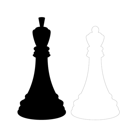 Silhouette of black chess king and a white chess queen. Isolated on white background. Illustration