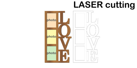 Frame for photos with inscription Love for laser cutting. Collage of photo frames. Template laser cutting machine for wood and metal. The perfect gift for St. Valentines Day.