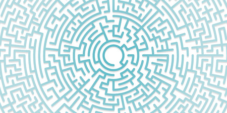 Background with graphic abstract geometry labyrinth pattern. Geometric background. Blue maze circle. Blue labyrinth. Maze symbol