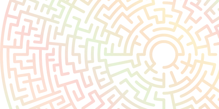 Background with graphic abstract geometry labyrinth pattern. Geometric background. Gradient maze circle. Gradient labyrinth. Maze symbol Vettoriali