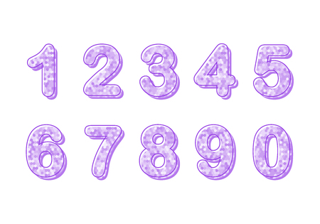 Set of ten numbers from zero to nine, number design elements. Modern number, great design for any purposes Illustration