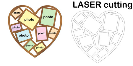 Basic RGBHeart shaped frame for photos for laser cutting. Collage of photo frames. Template laser cutting machine for wood and metal. The perfect gift for St. Valentine's Day.