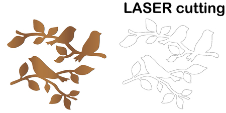 Laser cut of birds on a branch. Modern decorative element for interior. Laser cutting branches with silhouette of birds. Ilustracja