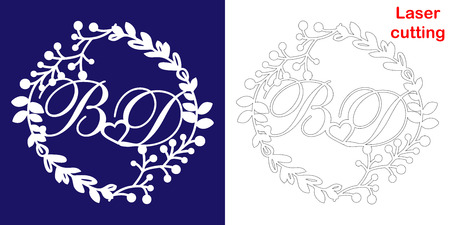 Wedding monogram for laser cutting. B D initials of the wedding decorative logo in a floral frame. The perfect gift for your wedding day. Illustration
