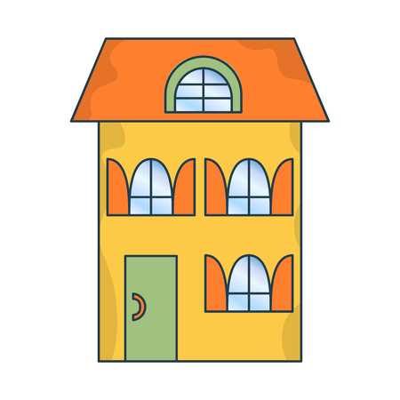 Cartoon house. Vector illustration isolated. Property investment concept. Design element. New family cartoon house in modern style. Real estate business concept. Cute house vector. Family residence.