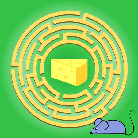 Maze children game: help the mouse go through the labyrinth and get a cheese. Cartoon colorful character. Preschool educational game. Maze puzzle design. Modern vector design. Labyrinth conundrum