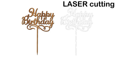 Sign 'Happy birthday' cake topper for laser or milling cut.