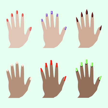 Different nail shapes. Fingernails fashion trends. Nail in modern style. Colorful graphic concept. Beauty salon. Modern nail, great design for any purposes. Stock Illustratie