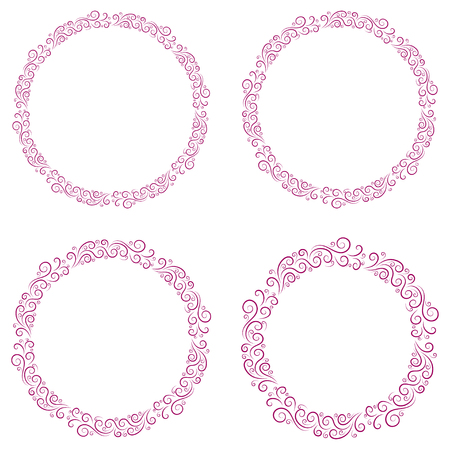 Basic RGBRound frame for decorative design. Greeting card vector. Vector holiday frame. Beautiful abstract concept. Vintage background. Vector template set Ilustração