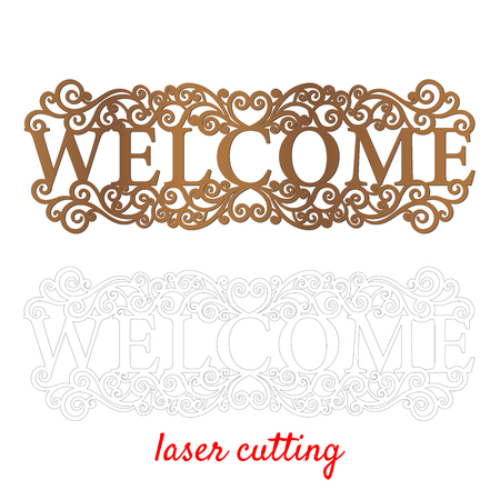 Welcome. Sign for home or office. Template laser cutting machine for wood or metal. Welcome phrase for your design. Laser cut design element. Vector ornamental decorative frame. Elegant decoration. 向量圖像